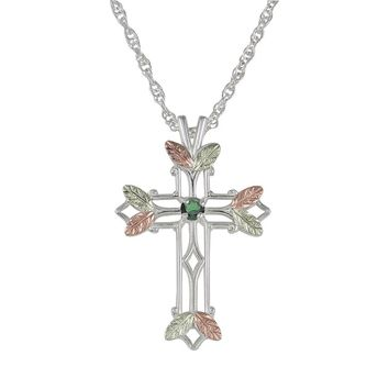 Black Hills Gold Tri-Tone Emerald Leaf Openwork Cross Pendant in Sterling Silver (Green)