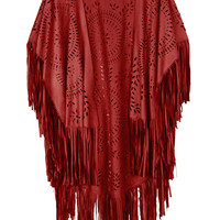 Red Suedette Laser Cut Asymmetric Fringed Cape