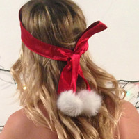 Red & white satin blindfold/eyemask with faux fur pom poms- Available in silk or polyester - Christmas lingerie