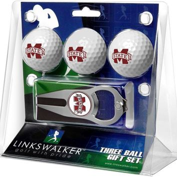 Mississippi State Bulldogs 3 Ball Gift Pack with Hat Trick Divot Tool