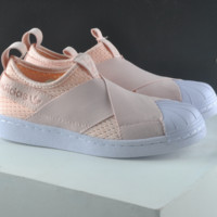 Adidas shell toe superstar slip on Casual Sports Shoes Orange pink  H-CSXY