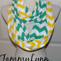 NEW!! Kelly Green and Yellow Chevron LONG 2 Pair Team Game Day Green Bay PACKERS Scarves Jersey Knit Infinity Scarves