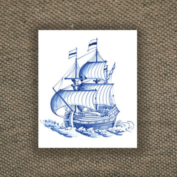 Vintage ship in Dutch 'Delfts Blauw' style temporary tattoo