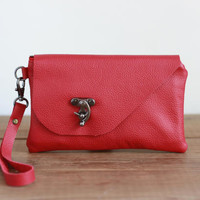 Red Leather Purse, Cellphone Wristlet Wallet Clutch, Wrist Pouch, Genuine Leather Handbag, Evening Clutch with Strap, Woman Bag