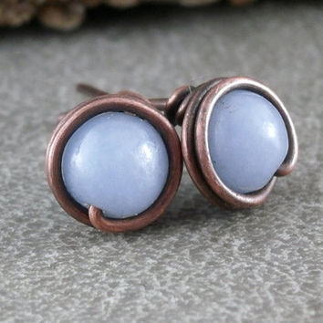 Angelite Studs Rustic Copper Jewelry Wire Wrapped Earrings Handmade Little Blue Earrings Sky Blue Gemstones Boho Posts Angelite Jewelry