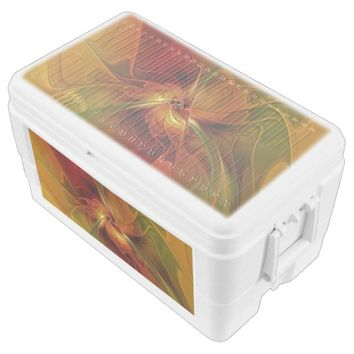 Abstract Red Orange Brown Green Fractal Art Flower Chest Cooler