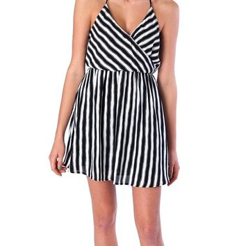 Stripe Magnetism Chiffon Dress- Black/White