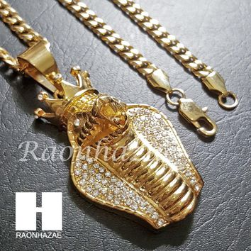 Iced Out 316L Stainless steel Gold  King Cobra w/ 5mm Cuban Chain SG010