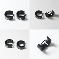 New Black Stainless Steel Punk Rock Cool Mens Boys Hoop/Huggie Men's Earring