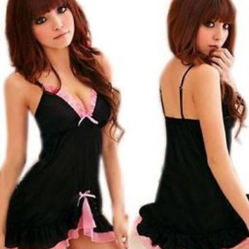 2016 Womens Sexy Black Sexy Sleep Dress Pink Frilly Babydoll Baby Doll Chemise Lingerie Nightie