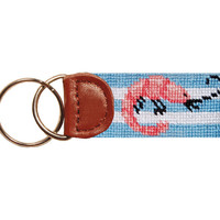 Shrimp Boil Needlepoint Key Fob in Blue by Smathers & Branson