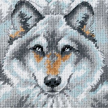 """Call Of The Wolf Mini Needlepoint Kit-5""""X5"""" Stitched In Thread"""