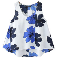 White Sleeveless Top with Blue Floral Print