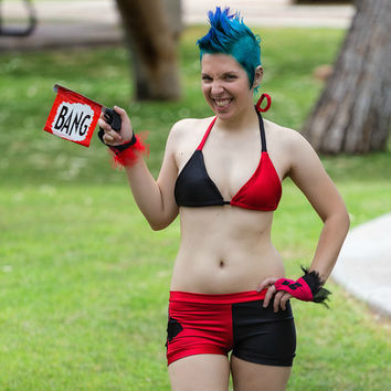 Harley Quinn Batman Bikini Swim Suit costume Cosplay Arkham