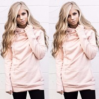 Women Pink Long-Sleeved Zipper Hooded Pocket Sweater