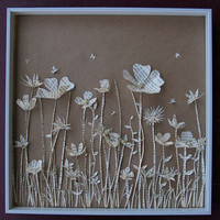 Meadow Book Paper Sculpture in Shadow Box by TheThinks on Etsy