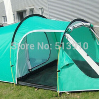 2017New style!3-4persons one bedroom & one living room double layer tunnel family and party camping tent