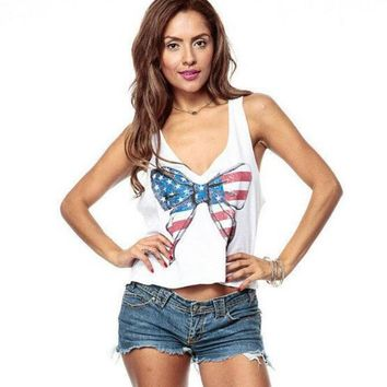 womens american flag printed tank top comfortable hollow out vest gift 88  number 1