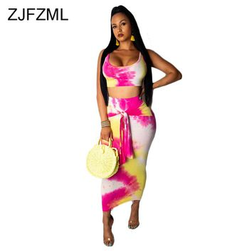 Tie Dye Sexy Two Piece Bandage Dress Summer Clothes For Women Scoop Neck Sleeveless  Party Dress High Waist Beach Bodycon Dress