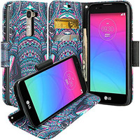 LG Leon LTE Case | Lg Tribute 2 Case | LG Power | LG Sunset | LG Destiny | LG Risio Case, Wallet Case, Wrist Strap [Kickstand] Pu Leather Wallet Case with ID & Credit Card Slots - Tribal Elephant