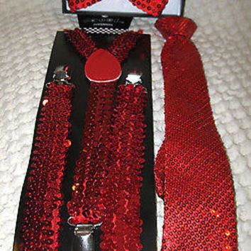 Red Sequin Adjustable Bow tie,Neck Tie & Red Sequin Adjustable Suspenders Combo