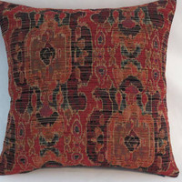 """Orange and Navy Blue Tapestry Pillow, 17"""" Sq,  Rust Red Teal, Ikat Kilim Oriental Carpet Style, Cover Only or Insert Incl, Ready Ship"""