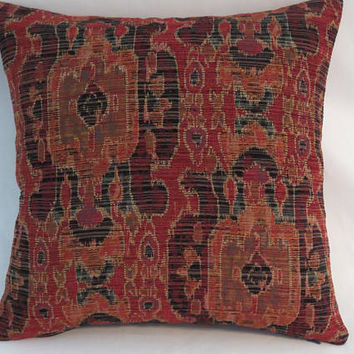 "Orange and Navy Blue Tapestry Pillow, 17"" Sq,  Rust Red Teal, Ikat Kilim Oriental Carpet Style, Cover Only or Insert Incl, Ready Ship"
