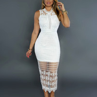 Sleeveless Crochet Lace Lining Dress