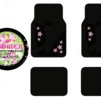 A Set of 4 Universal Fit Pink Flower Plush Carpet Floor Mats and 1 Comfort Grip Steering Wheel Cover