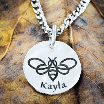 Silver Bumble Bee Name Necklace