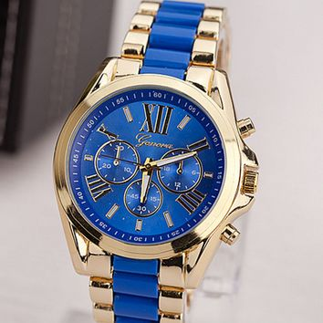 Stainless Steel Gold Quarts Watch