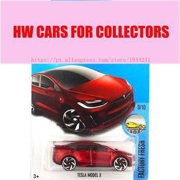 2017 Hot Wheels 1:64 Red Tesla Models X Metal Diecast Cars Collection Kids Toys Vehicle For Children Juguetes