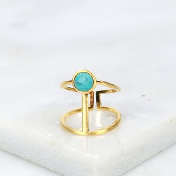 Stone T Ring Blue