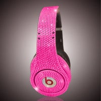 Swarovski Crystal Beats By Dre Bling Pink Diamond Headphones - Made with Swarovski Elements Crystal Studio, Solo, and Pro Beats Headphones