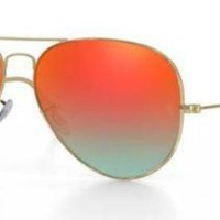 RAY BAN 3025 58 POLISHED GOLD CUSTOMIZED REMIX ORANGE MIRROR GRADIENT