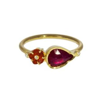 Blossom Fire Opal and Ruby Ring