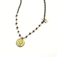 Garnet Necklace, Wire Wrapped Boho Necklace, Black Chain, Gold Coin Necklace, Rocker Chic Jewelry, Garnet and Gold, Cranberry Necklace