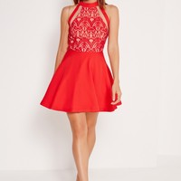 Missguided - Mesh Stripe Lace Top Skater Dress Red