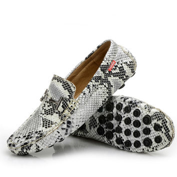 Serpentine Print Men's Flats Casual Leather Shoes Moccasins Men Loafers Slip On Fashion Snake Style Male Driving Shoes 2#D30