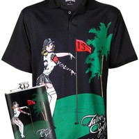 Pin High Performance Men's Golf Shirt & Flask