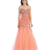 Melon Strapless Sweetheart Sequin Mermaid Dress 2015 Prom Dresses