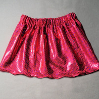 Grow With Me-3 mo to 3T ADJUSTABLE Sparkly Pink Baby Skirt-Pink Princess Skirt-Sparkly Girl's Skirt-Stretchy Pink Girl's Dress Up Skirt