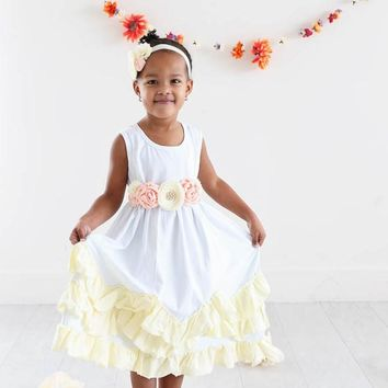 White & Buttercream Tank Top Ruffle Layer Dress