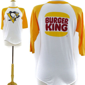 Vintage 80s Penguins Hockey Burger King Raglan 3/4 Sleeve Jersey 50/50 T Shirt Sz L