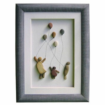 Unique pebble art home decor, birthday gift, mothers day or new home gift, kids and balloons wall art home decoration, kids room decoration