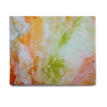 "Rosie Brown ""November Rain"" Green Orange Birchwood Wall Art"