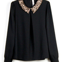 Vintage Sequined Black Chiffon Long-sleeved Shirt Collar - Sheinside.com