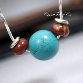 Turquoise Necklace  - Men's Necklace - Men's Stone Choker - Simple Stone Necklace - Genuine Turquoise Jasper Pendant For Men  Gift For Him