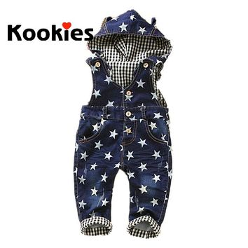 Hot Sale Baby Boy Girl Hooded Jeans Stars Printing Overalls Pants Baby Overalls Denim Salopette Jeans KT430