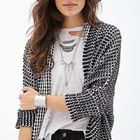 FOREVER 21 Open-Front Batwing Cardigan Black/White